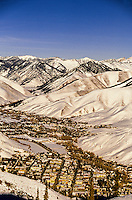 Looking down to Ketchum from Bald Mountain, Sun Valley resort, Idaho USA