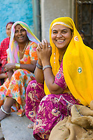 Indian women in vegetable market in old town Udaipur, Rajasthan, Western India
