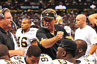 "File-Greg Williams, Defensive Coordinator for the New Orleans Saintshas been suspended indefiently from the NFL because of his ""bounty system"" he had in place while coaching for the Saints during ht e2009,2010 & 2011 NFL seasons. Coach Sean Payton was suspended for one year and General manager Mickey Loomis was suspended for 8 games for thier roles in the ""Bounty scandal"". File Photo of Defensive coach Greg Willams letting his defensive line know what to do during the Saints pre season game against the San Diego Chargers Friday Aug 27,2010. The San Diego charges cut Drew Brees a few years ago, allowing him to be picked uop by the Saints as a free agent. The Saints won 36-21 at half time.Photo© Suzi Altman"