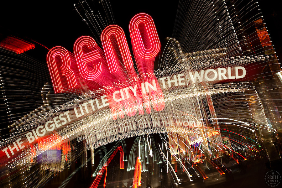 &quot;Downtown Reno 3&quot;  This Reno The Biggest Little City in the World sign, also know as the Reno Arch, was photographed in Reno, Nevada. The effect was obtained in camera by long exposure mixed with intentional camera movement.