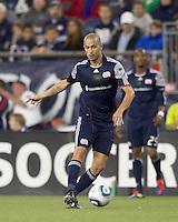 New England Revolution forward Rajko Lekic (10) passes the ball. In a Major League Soccer (MLS) match, the New England Revolution defeated FC Dallas, 2-0, at Gillette Stadium on September 10, 2011.