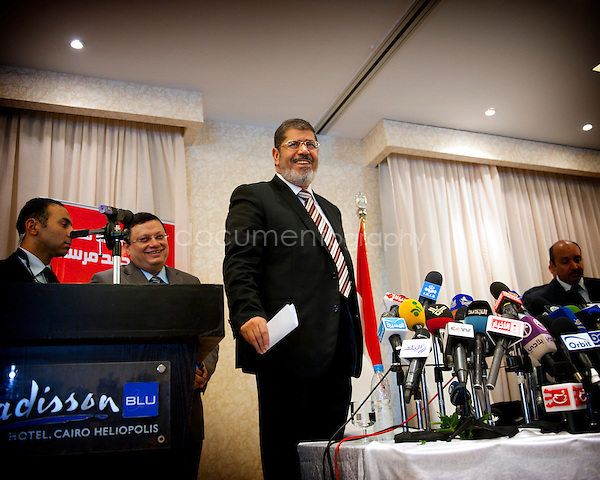 Press conference at the Radison hotel in Cairo with Mohammed Morsi - one of the two candidates who will go to the second round of the Egyptian presidential elections...Cairo, Egypt, the 29th of May 2012..copytight : Magali Corouge / Documentography