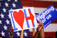 NEWARK, NJ - JUNE 01 : Supporter of U.S. Democratic presidential candidate Hillary Clinton attend a rally on June 01, 2016 in Newark, New Jersey. Hillary Clinton only needs 73 delegates to clinch the party's nomination. on June 7 New Jersey will hold its primary elections, a state that will be awarding 142 total Democratic delegates. Photo by VIEWpress