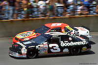 BROOKLYN, MI - JUNE 23: Dale Earnhardt (#3) drives ahead of Ricky Rudd during the Miller Genuine Draft 400 onJune 23, 1991, at the Michigan International Speedway near Brooklyn, Michigan.