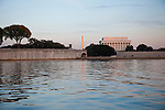 Late afternoon and evening views of the Memorial Bridge, Lincoln Memorial and Washington Memorial as viewed from the Potomac River.