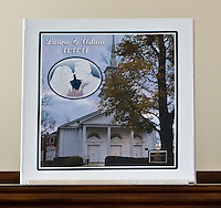 """Laura & Adam Studebaker wedding ablum, designed, printed and bound by Ron Pradetto Photography. A hand bound, lay-flat album with a printed canvas cover.  Albums can be made in almost any size up to 12"""" and any amount of pages, minimum 20 pages."""