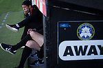 Bala Town 3 FC Differdange 4, 03/08/2015. Belle Vue, Europa League. The away team's substitutes watching the pre-match warm-up before the Europa League first qualifying round, second leg tie between Bala Town from Wales and FC Differdange 03 of Luxembourg. It was the Welsh club's second season of European competition, and due to ground regulations the match was played at nearby Belle Vue, home of Rhyl FC. The visitors won the tie 4-3 on aggregate due to a last-minute away goal by Omar Er Rafik, in a game watched by 1039 fans and progressed to play Turkish giants Trabzonspor in the next round. Photo by Colin McPherson.