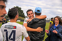 Auckland City captain Angel Berlanga celebrates after the final whistle of the Oceania Football Championship final (second leg) football match between Team Wellington and Auckland City FC at David Farrington Park in Wellington, New Zealand on Sunday, 7 May 2017. Photo: Dave Lintott / lintottphoto.co.nz