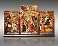Gothic Catalan altarpiece of, left to right, the martydom of St Bartholomew, Calvaty and the deat of St Mary Magdelene, by Jaume Huguet, Barcelona circa 11465-1480, tempera and gold leaf on for wood, from the church of San Marti de Petegas de san Seloni, Valle Oriental, Spain.  National Museum of Catalan Art, Barcelona, Spain, inv no: MNAC   24365. Against a light grey background.