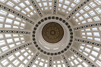 Close-up of the eliptical skylight dome over the rotunda of a landmark Oakland, California, building.