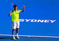 Sergiy Stakhovsky of Ukranie reacts after missing a point agaisnt Bernard Tomic of Australia during their semi-final match at the Sydney International tennis tournament, Jan. 10, 2014.  Daniel Munoz/Viewpress IMAGE RESTRICTED TO EDITORIAL USE ONLY