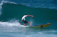 Hossegor France. Former World Surfing Champion Nat Young (AUS) competing in the longboard division of the Rip Curl Pro France. Circa 1991 Photo: joliphotos.com