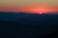 The sun drops below the horizon from Clingman's Dome, Great Smoky Mountains National Park