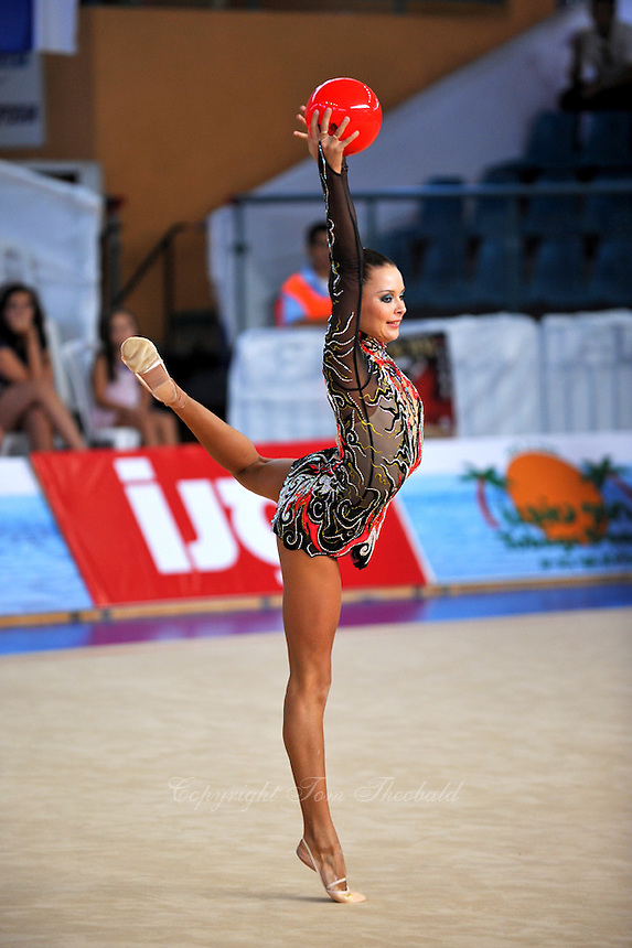 Ulyana Trofimova of Uzbekistan performs with ball at 2010 Holon Grand Prix at Holon, Israel on September 3, 2010.  (Photo by Tom Theobald).
