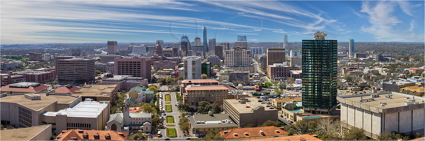 The view of the Austin Skyline from the UT Tower - shot in the morning. This Austin Panorama looks south towards the Texas Capitol and the highrises of downtown Austin.