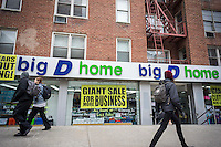 The Big D home store discounter in the 14th Street CBD in Greenwich Village in New York on Wednesday, March 19, 2014. Formerly known as Dee & Dee the store is a beloved destination on 14th Street for bargain hunters. The shopping street was a major upscale destination when it was on the northern boundaries of the city. It was a working class shopping district for years and it is seeing a resurgence with some major chains and upscale stores moving in recently. (© Richard B. Levine)