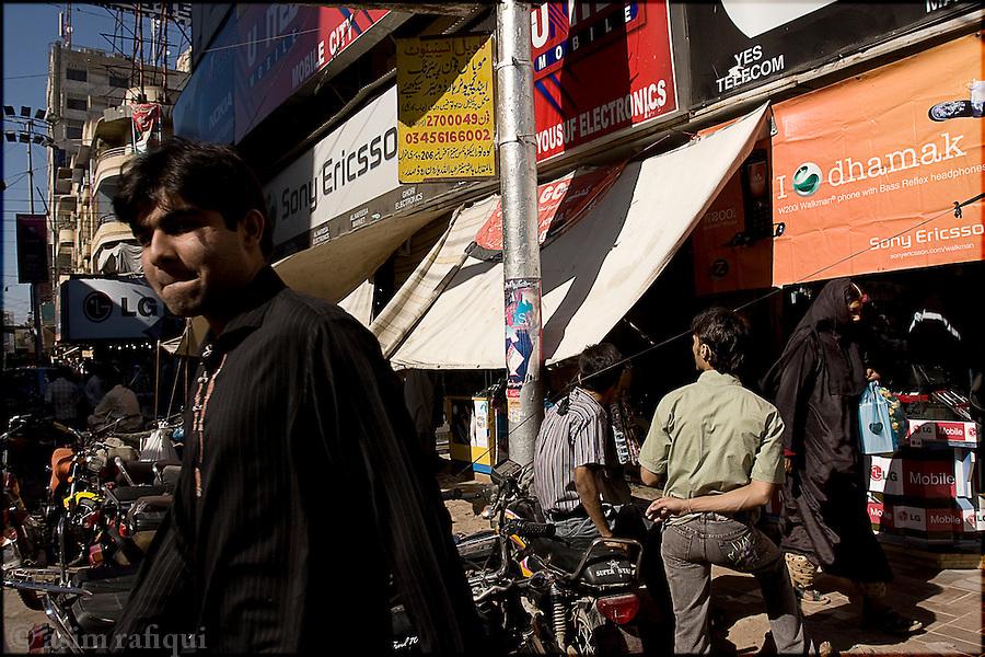 street scene in Karachi's electronics market