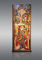 Gothic altarpiece depicting top, Calvary, bottom, St Sebastia (Sebastian) , by Joan Mates of Villafranca de Penedes, circa 1417-1425, from the refrectory of Pia Almoina, Barcelona, Temperal and gold leaf on wood.  National Museum of Catalan Art, Barcelona, Spain, inv no: MNAC  32340. Joan Mates was a Spanish painter of the International Gothic style.