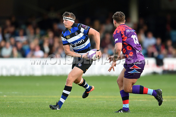 Darren Atkins of Bath United looks to pass the ball. Remembrance Rugby match, between Bath United and the UK Armed Forces on May 10, 2017 at the Recreation Ground in Bath, England. Photo by: Patrick Khachfe / Onside Images