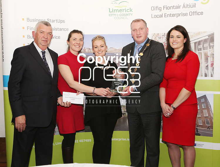 WITH COMPLIMENTS.  Attending the  Entrepreneur of the Year 2016 in the  Limerick Final of the National Enterprise Awards at a ceremony in the Dunraven Arms Hotel, Adare were Cllr. Liam Galvin, Mayor of Limerick City and County Council who presented the award to  Trin O&rsquo;Brien and B.J. Broderick of Wellnice Pops, Athlacca winner of the Innovation award.  Also in the photographare Eamon Ryan, Head of Enterprise, Local Enterprise Office Limerick(left)  and Ciara Finley, Local Enterprise Office Limerick(right). Innovation - Wellnice Pops is the brainchild of Limerick friends Caitr&iacute;n O&rsquo;Brien &amp; BJ Broderick. Caitr&iacute;n and BJ met over 12 years ago, while working in Dolan&rsquo;s Pub and Restaurant. Caitr&iacute;n is a qualified mechanical engineer while BJ is a qualified Nutrition &amp; Health Coach. In 2015, they approached LEO Limerick who offered them a mentor, guided their business through the development stages, and provided them with a priming grant, training and advice. Wellnice Pops are currently on a trial with 19 Supervalu&rsquo;s across the country, as well as regularly supplying summer festivals and health shops. Wellnice Pops are 100% vegetable &amp; fruit juice ice pops. They are the first of their kind in Ireland, providing a 100% natural ice pop. Wellnice Pops hope to start exporting to international markets in the future.<br />Photograph Liam Burke/Press 22