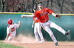 WOLCOTT CT. 17 April 2017-041517SV06-#3 Cameron DeFeo of Watertown High makes the off balance throw to first as Wolcott High loads the bases in the 3rd inning during NVL baseball action in Wolcott Monday. <br /> Steven Valenti Republican-American
