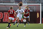 22 September 2016: Notre Dame's Taylor Klawunder (29) is defended by NC State's Paige Griffiths (21) and Rachel Cox (20). The North Carolina State University Wolfpack hosted the University of Notre Dame Fighting Irish at Dail Soccer Field in Raleigh, North Carolina in a 2016 NCAA Division I Women's Soccer match. Notre Dame won the game 1-0.