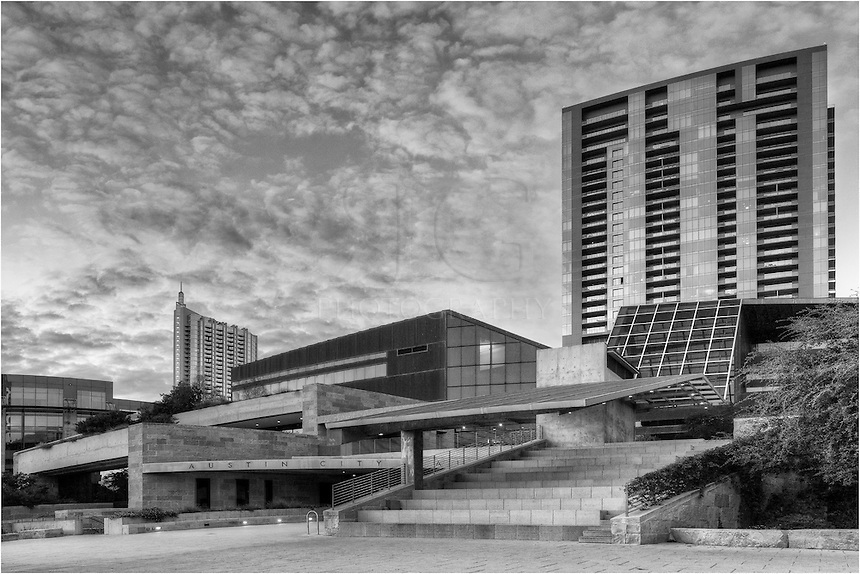 This image of Austin City  Hall is a black and white version the structure that was finished in 2004. The building sits on the shores of Lady Bird Lake.
