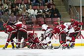 Joe Sullivan (SLU - 20), Alexander Kerfoot (Harvard - 14), Mike Marnell (SLU - 26), Kyle Hayton (SLU - 27), Lewis Zerter-Gossage (Harvard - 77), Eric Sweetman (SLU - 2), Ryan Donato (Harvard - 16), Ben Masella (SLU - 3) - The Harvard University Crimson defeated the St. Lawrence University Saints 6-3 (EN) to clinch the ECAC playoffs first seed and a share in the regular season championship on senior night, Saturday, February 25, 2017, at Bright-Landry Hockey Center in Boston, Massachusetts.