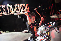 "MEDELLIN, COL AUG 06:  6 years old drummer Damian Gomez plays during ""La pestilencia"" 30th anniversary concert in Medellin Colombia on August 06, 2016 in Medellin. La Pestilencia is the first hardcore punk band  formed in colombia on 1986, they are currently based based in Los Angeles California, Damian is the son of the band drummer Marcelo Gomez (Photo by Carlos Alberto Montañez/VIEWpress)"
