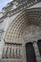 Portal of the last judgment, 1220-1250, central cathedral door, Notre Dame de Paris, 1163 ? 1345, initiated by the bishop Maurice de Sully, Ile de la Cité, Paris, France. Picture by Manuel Cohen