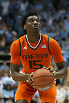20 February 2016: Miami's Ebuka Izundu. The University of North Carolina Tar Heels hosted the University of Miami Hurricanes at the Dean E. Smith Center in Chapel Hill, North Carolina in a 2015-16 NCAA Division I Men's Basketball game. UNC won the game 96-71.