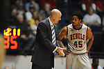 "Ole Miss head basketball coach Andy Kennedy talks with Ole Miss' Jelan Kendrick (45) vs. LSU at the C.M. ""Tad"" Smith Coliseum in Oxford, Miss. on Saturday, February 25, 2012. (AP Photo/Oxford Eagle, Bruce Newman).."