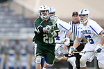 DURHAM, NC - MARCH 11: Loyola's Graham Savio (28) wins a draw against Duke's Kyle Rowe (5). The Duke University Blue Devils hosted the Loyola University Maryland Greyhounds on March 11, 2017, at Koskinen Stadium in Durham, NC in a Division I College Men's Lacrosse match. Duke won the game 15-7.