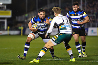 Elliott Stooke of Bath Rugby in possession. Aviva Premiership match, between Bath Rugby and Northampton Saints on February 10, 2017 at the Recreation Ground in Bath, England. Photo by: Patrick Khachfe / Onside Images