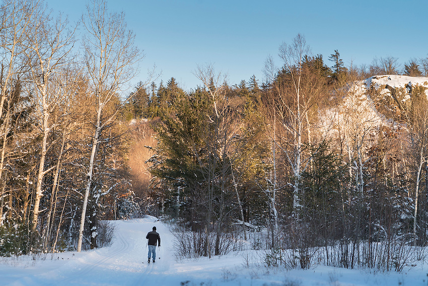Cross-country ski tracks on the Iron Ore Heritage Trail in the Ishpeming and Negaunee area of Marquette County, Michigan.