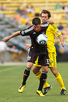 26 JUNE 2010:  Chris Pontius #13 of DC United  and Adam Moffat of the Columbus Crew (22) during MLS soccer game between DC United vs Columbus Crew at Crew Stadium in Columbus, Ohio on May 29, 2010. The Crew defeated DC United 2-0.