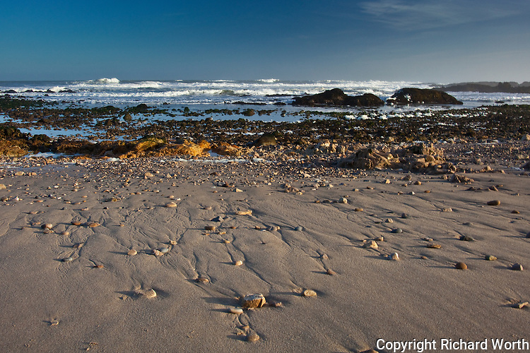 Rocks revealed at low tide, decorating Pescadero State Beach, California.