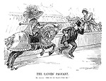 """The Ladies' Pageant. Mr Asquith. """"This is no place for me!"""" (Prime Minister Asquith runs across the track before the Anti-Sufrage and Suffrage horses collide with their jousting poles)"""