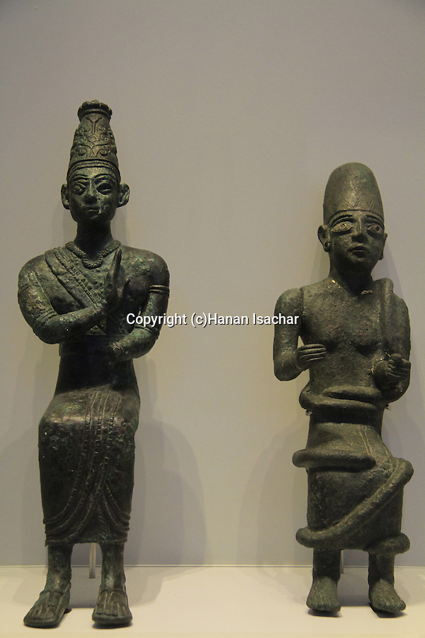 Israel, Jerusalem, statues from Tel Hazor, 1500-1300 BC, on display at the Israel Museum