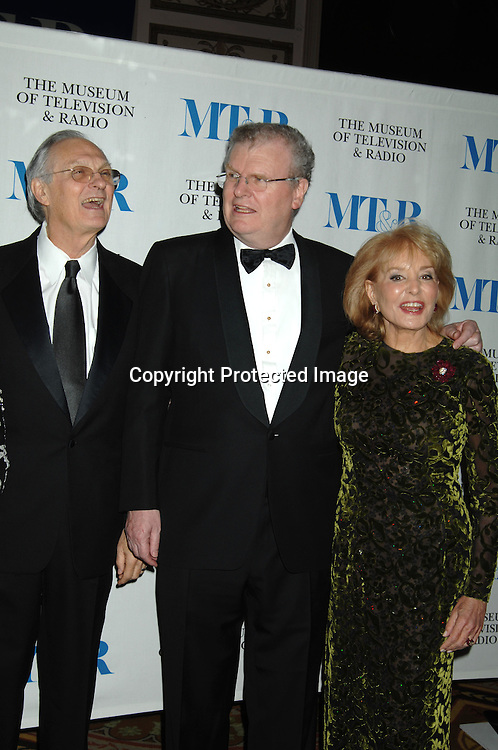 Alan Alda, Sir Howard Stringer and Barbara Walters..at The Museum of TV & Radio Annual 2007 Gala on ..February 8, 2007 honoring Sir Howard Stringer,Sony Corporation CEO and Chairman at The Waldorf Astoria..Hotel in New York. ..Robin Platzer, Twin Images..