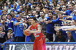 08 November 2014: Central Missouri's Donte Adams makes a throw-in in front of Duke's Cameron Crazees. The Duke University Blue Devils hosted the University of Central Missouri Mules at Cameron Indoor Stadium in Durham, North Carolina in an NCAA Men's Basketball exhibition game. Duke won the game 87-47.