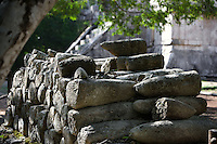 Stone phalluses labelled with the false name of ?cylinders?, Chichen Itza, Yucatan, Mexico. Picture by Manuel Cohen