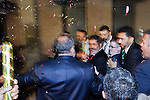 Confetti flies as Egyptian Islamist presidential candidate Dr. Mohamed Morsy arrives at a May 17, 2012 campaign rally in the Nile delta city of Benha, Egypt. Morsy, the Muslim Brotherhood's candidate once lagged far behind in the polls, but is now considered a strong underdog candidate because of the legendary organizational machine his group commands during election times. (Photo by Scott Nelson)
