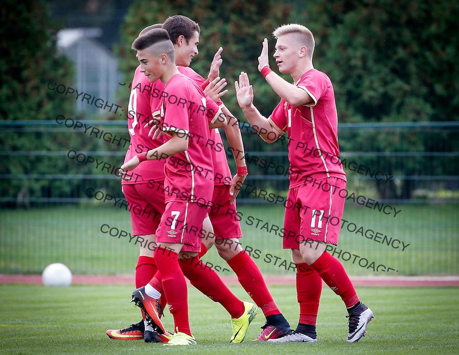 Fudbal Soccer<br /> International Friendly-Prijateljski mec<br /> Srbija U17 v Belorusiaj U17<br /> Filip Stuparevic (L) Jovan Kokir celebrate<br /> Stara Pazova, 20.09.2016<br /> foto: Srdjan Stevanovic/Starsportphoto &copy;