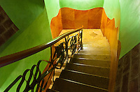The staircase inside the Gaudi building, an apartment building in Barcelona, Spain.