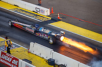 Aug 20, 2016; Brainerd, MN, USA; NHRA jet dragster driver Tony Franco Sr launches off the starting line to close out qualifying for the Lucas Oil Nationals at Brainerd International Raceway. Mandatory Credit: Mark J. Rebilas-USA TODAY Sports