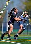 28 April 2012: University at Albany Great Dame midfielder Nichole Eamer, a Freshman from Watertown, NY, in action against the University of Vermont Catamounts at Virtue Field in Burlington, Vermont. The Lady Danes defeated the Lady Cats 12-10 in America East Women's Lacrosse. Mandatory Credit: Ed Wolfstein Photo