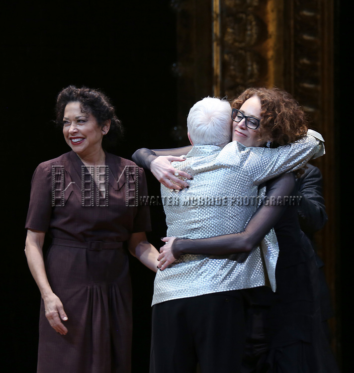 Mimi Liever, Paula Vogel and Rebecca Taichman during the Broadway Opening Night Performance Curtain Call Bows for  'Indecent' at The Cort Theatre on April 18, 2017 in New York City.