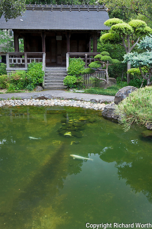 A building at the far end of the Japanese Gardens next to the koi pond.
