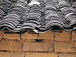 Chinese Roof Tiles and Brick Wall